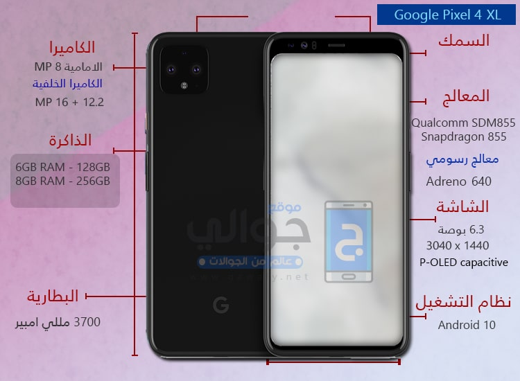 سعر ومواصفات موبايل جوجل بيكسل Google Pixel 4 Xl موقع جوالي